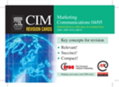 Ebook in inglese CIM Revision Cards: Marketing Communications 04/05 Knowledge, Marketing