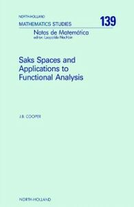 Ebook in inglese Saks Spaces and Applications to Functional Analysis Cooper, J.B.