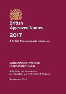 British approved names 2017: supplement no. 1 - British Pharmacopoeia Commission - cover