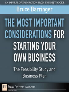 Ebook in inglese The Most Important Considerations for Starting Your Own Business Barringer, Bruce