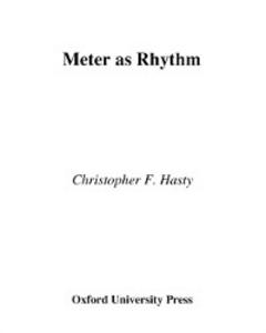 Ebook in inglese Meter As Rhythm Hasty, Christopher