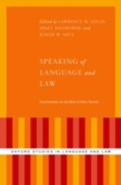 Speaking of Language and Law: Conversations on the Work of Peter Tiersma