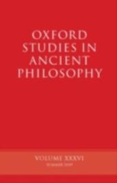 Oxford Studies in Ancient Philosophy Volume XXXIV