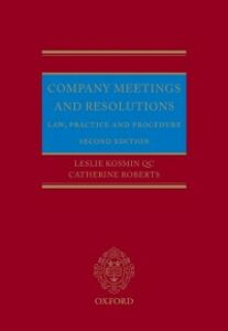 Foto Cover di Company Meetings and Resolutions: Law, Practice, and Procedure, Ebook inglese di Leslie Kosmin QC,Catherine Roberts, edito da OUP Oxford
