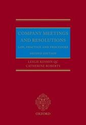 Company Meetings and Resolutions: Law, Practice, and Procedure