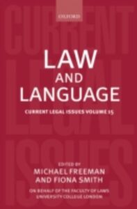 Ebook in inglese Law and Language: Current Legal Issues Volume 15