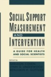 Social Support Measurement and Intervention: A Guide for Health and Social Scientists