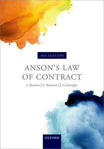 Anson's Law of Contract - Jack Beatson,Andrew Burrows,John Cartwright - cover