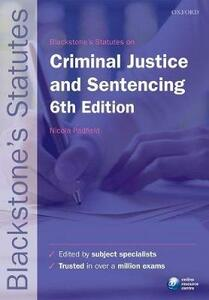 Blackstone's Statutes on Criminal Justice & Sentencing - cover