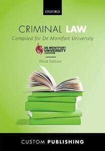 Criminal Law De Montfort University - CUSTOM - cover