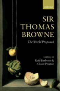 Sir Thomas Browne: The World Proposed - cover