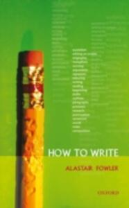 How to Write - Alastair Fowler - cover