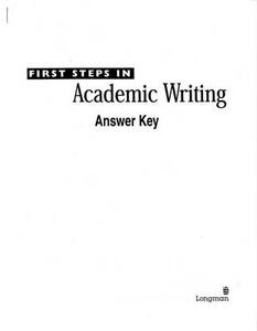 First Steps in Academic Writing (The Longman Academic Writing Series, Level 2), Answer Key - Ann Hogue - cover