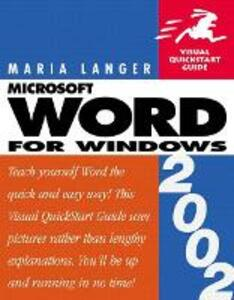 Word 2002 for Windows: Visual QuickStart Guide - Maria L. Langer - cover
