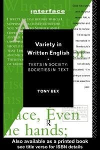 Foto Cover di Variety in Written English, Ebook inglese di Tony Bex, edito da Taylor and Francis