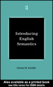 Ebook in inglese Introducing English Semantics Kreidler, Charles W.