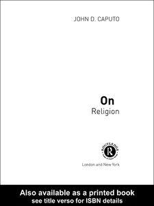 Foto Cover di On Religion, Ebook inglese di John D. Caputo, edito da
