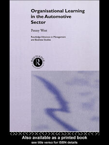 Ebook in inglese Organisational Learning in the Automotive Sector West, Penny