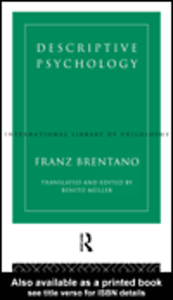 Ebook in inglese Descriptive Psychology Brentano, Franz