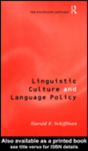 Ebook in inglese Linguistic Culture and Language Policy Schiffman, Harold