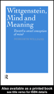 Ebook in inglese Wittgenstein, Mind and Meaning Williams, Meredith