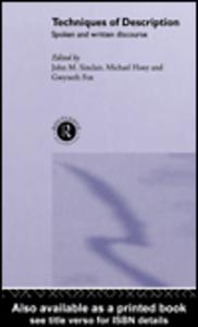 Ebook in inglese Techniques of Description Fox, Gwyneth , Hoey, Michael , Sinclair, John M.