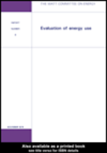 Ebook in inglese Evaluation of Energy Use Watt Committee on Energy Publications