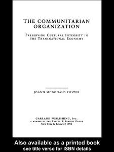 Ebook in inglese The Communitarian Organization McDonald Foster, Jo Ann