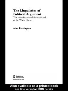 Foto Cover di The Linguistics of Political Argument, Ebook inglese di Alan Partington, edito da