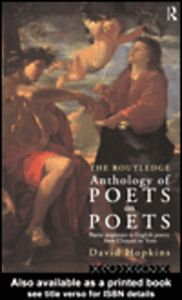 Ebook in inglese The Routledge Anthology of Poets on Poets Hopkins, David