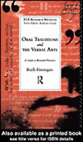 Oral Traditions and the Verbal Arts