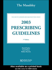 Foto Cover di The Maudsley Prescribing Guidelines 2003, Ebook inglese di AA.VV edito da