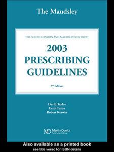 Ebook in inglese The Maudsley Prescribing Guidelines 2003 Kerwin, Robert , Paton, Carol , Taylor, David