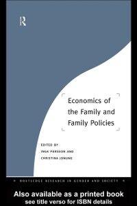 Foto Cover di Economics of the Family and Family Policies, Ebook inglese di  edito da Taylor and Francis