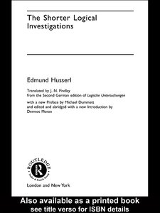 Ebook in inglese The Shorter Logical Investigations Husserl, Edmund