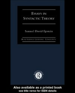 Ebook in inglese Essays in Syntactic Theory Epstein, Samuel David