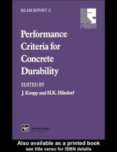 Foto Cover di Performance Criteria for Concrete Durability, Ebook inglese di  edito da Taylor and Francis