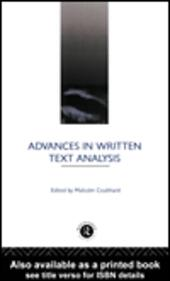 Advances in Written Text Analysis