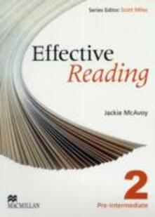 Effective Reading Pre Intermediate Student's Book - Jackie McAvoy - cover