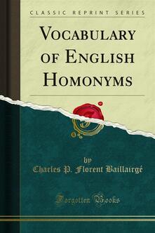 Vocabulary of English Homonyms