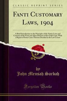 Fanti Customary Laws, 1904