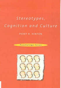 Stereotypes, Cognition and Culture - Perry R. Hinton - cover