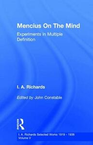 Mencius On The Mind: Experiments in Multiple Definition - John Constable - cover