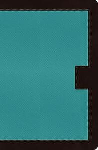 NKJV, Reference Bible, Giant Print, Leathersoft, Turquoise/Brown, Indexed, Red Letter Edition - Thomas Nelson - cover