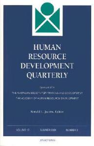 Human Resource Development Quarterly, Volume 12 , Number 2, Summer 2001 - cover