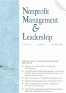 Nonprofit Management and Leadership, Volume 16, Number 4, Summer 2006 - cover