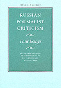 Russian Formalist Criticism: Four Essays - cover