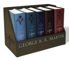 A Game of Thrones Leather-Cloth Boxed Set: A Game of Thrones, a Clash of Kings, a Storm of Swords, a Feast for Crows, and a Dance with Dragons - George R R Martin - cover