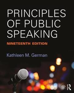 Principles of Public Speaking - Kathleen M. German - cover
