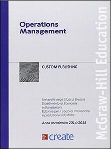 Operations management. Università degli Studi di Brescia. Anno accademico 2014-2015 - copertina